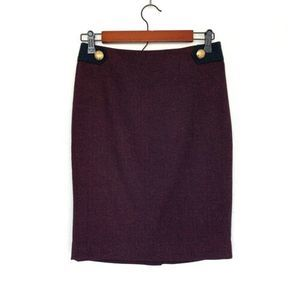 The Limited Red Black Herringbone Pencil Skirt